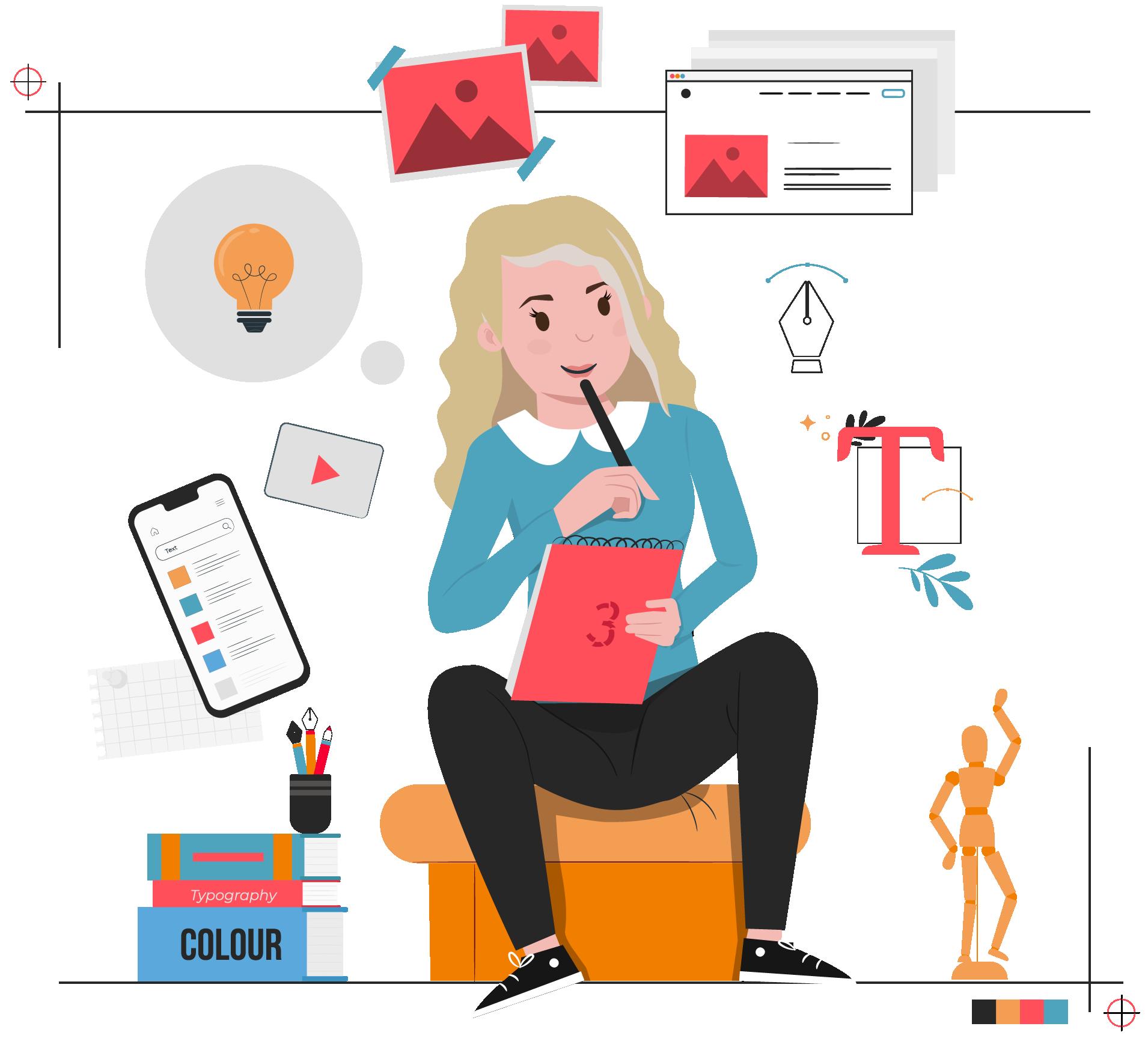 vormgeving concept online marketing jessica illustraties 06